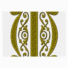 Gold Scroll Design Ornate Ornament Large Glasses Cloth (2 Side) by Nexatart