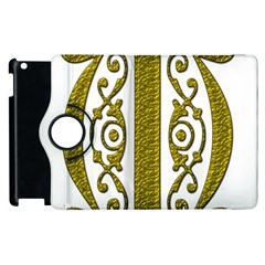 Gold Scroll Design Ornate Ornament Apple Ipad 2 Flip 360 Case by Nexatart