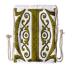 Gold Scroll Design Ornate Ornament Drawstring Bag (large) by Nexatart
