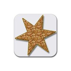 Star Glitter Rubber Square Coaster (4 Pack)  by Nexatart