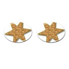 Star Glitter Cufflinks (oval) by Nexatart