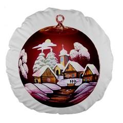 Christmas Decor Christmas Ornaments Large 18  Premium Flano Round Cushions by Nexatart