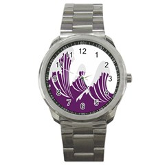 Waves Purple Wave Water Chevron Sea Beach Sport Metal Watch by Mariart