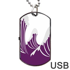 Waves Purple Wave Water Chevron Sea Beach Dog Tag Usb Flash (two Sides) by Mariart