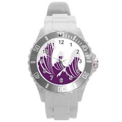 Waves Purple Wave Water Chevron Sea Beach Round Plastic Sport Watch (l) by Mariart
