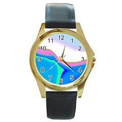 Aurora Color Rainbow Space Blue Sky Purple Yellow Green Round Gold Metal Watch by Mariart