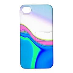 Aurora Color Rainbow Space Blue Sky Purple Yellow Green Apple Iphone 4/4s Hardshell Case With Stand by Mariart