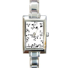 Black Leaf Tatto Rectangle Italian Charm Watch by Mariart