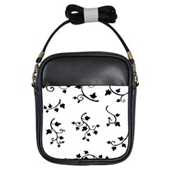 Black Leaf Tatto Girls Sling Bags by Mariart
