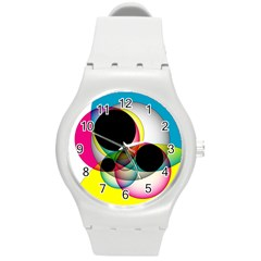 Apollonius Color Multi Circle Polkadot Round Plastic Sport Watch (m) by Mariart
