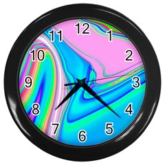 Aurora Color Rainbow Space Blue Sky Purple Yellow Green Pink Red Wall Clocks (black) by Mariart