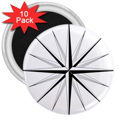 Compase Star Rose Black White 3  Magnets (10 Pack)  by Mariart