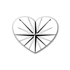 Compase Star Rose Black White Heart Coaster (4 Pack)  by Mariart