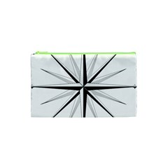 Compase Star Rose Black White Cosmetic Bag (xs) by Mariart