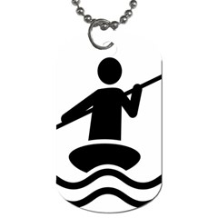 Cropped Kayak Graphic Race Paddle Black Water Sea Wave Beach Dog Tag (two Sides) by Mariart