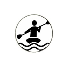 Cropped Kayak Graphic Race Paddle Black Water Sea Wave Beach Hat Clip Ball Marker by Mariart