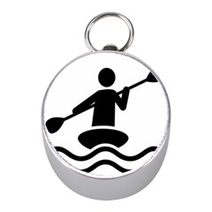 Cropped Kayak Graphic Race Paddle Black Water Sea Wave Beach Mini Silver Compasses by Mariart
