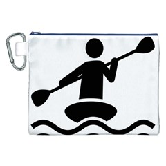 Cropped Kayak Graphic Race Paddle Black Water Sea Wave Beach Canvas Cosmetic Bag (xxl) by Mariart