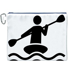 Cropped Kayak Graphic Race Paddle Black Water Sea Wave Beach Canvas Cosmetic Bag (xxxl) by Mariart