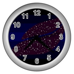 Contigender Flags Star Polka Space Blue Sky Black Brown Wall Clocks (silver)  by Mariart