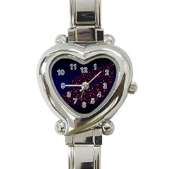 Contigender Flags Star Polka Space Blue Sky Black Brown Heart Italian Charm Watch by Mariart