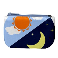 Day Night Moon Stars Cloud Stars Large Coin Purse by Mariart