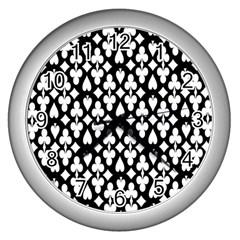 Dark Horse Playing Card Black White Wall Clocks (silver)  by Mariart