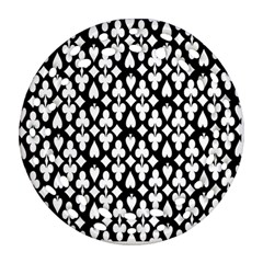 Dark Horse Playing Card Black White Round Filigree Ornament (two Sides) by Mariart