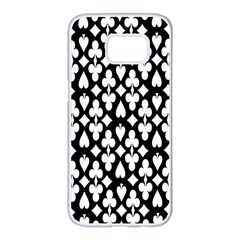 Dark Horse Playing Card Black White Samsung Galaxy S7 Edge White Seamless Case