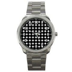 Dotted Pattern Png Dots Square Grid Abuse Black Sport Metal Watch by Mariart