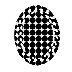 Dotted Pattern Png Dots Square Grid Abuse Black Ornament (oval Filigree) by Mariart