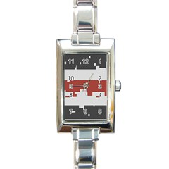 Girl Flags Plaid Red Black Rectangle Italian Charm Watch by Mariart