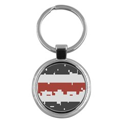 Girl Flags Plaid Red Black Key Chains (round)  by Mariart
