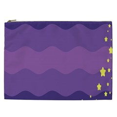 Glimragender Flags Wave Waves Chevron Purple Blue Star Yellow Space Cosmetic Bag (xxl)  by Mariart