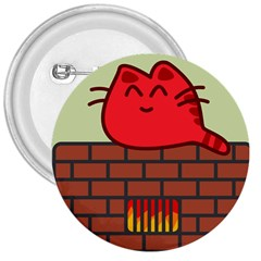 Happy Cat Fire Animals Cute Red 3  Buttons by Mariart