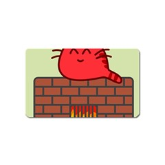 Happy Cat Fire Animals Cute Red Magnet (name Card) by Mariart