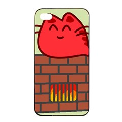 Happy Cat Fire Animals Cute Red Apple Iphone 4/4s Seamless Case (black) by Mariart