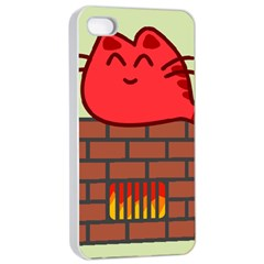 Happy Cat Fire Animals Cute Red Apple Iphone 4/4s Seamless Case (white) by Mariart