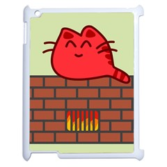 Happy Cat Fire Animals Cute Red Apple Ipad 2 Case (white) by Mariart