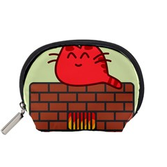 Happy Cat Fire Animals Cute Red Accessory Pouches (small)  by Mariart