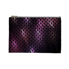 Light Lines Purple Black Cosmetic Bag (large)  by Mariart