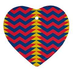 Lllustration Geometric Red Blue Yellow Chevron Wave Line Ornament (heart) by Mariart