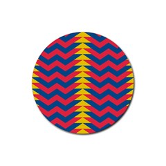 Lllustration Geometric Red Blue Yellow Chevron Wave Line Rubber Coaster (round)  by Mariart