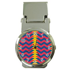 Lllustration Geometric Red Blue Yellow Chevron Wave Line Money Clip Watches by Mariart