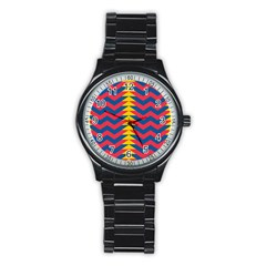 Lllustration Geometric Red Blue Yellow Chevron Wave Line Stainless Steel Round Watch by Mariart