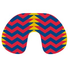 Lllustration Geometric Red Blue Yellow Chevron Wave Line Travel Neck Pillows by Mariart
