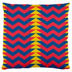 Lllustration Geometric Red Blue Yellow Chevron Wave Line Large Flano Cushion Case (two Sides) by Mariart