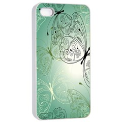 Glass Splashback Abstract Pattern Butterfly Apple Iphone 4/4s Seamless Case (white) by Mariart