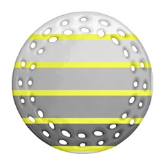 Molly Gender Line Flag Yellow Grey Ornament (round Filigree) by Mariart