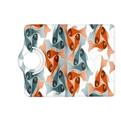 Make Tessellation Fish Tessellation Blue White Kindle Fire Hd (2013) Flip 360 Case by Mariart